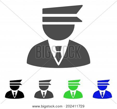 Police Officer vector pictograph. Style is a flat graphic symbol in black, gray, blue, green color versions. Designed for web and mobile apps.