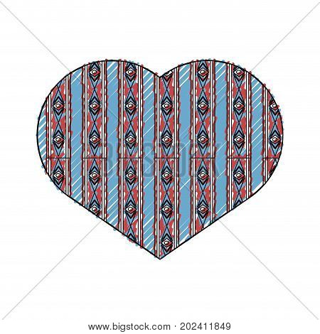 heart in ethnic style icon over white background colorful desgin vector illustration