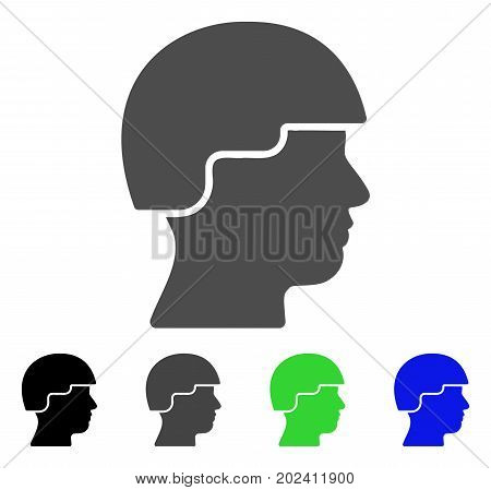Soldier vector pictograph. Style is a flat graphic symbol in black, grey, blue, green color variants. Designed for web and mobile apps.