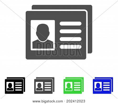 User Account Cards vector icon. Style is a flat graphic symbol in black, gray, blue, green color versions. Designed for web and mobile apps.