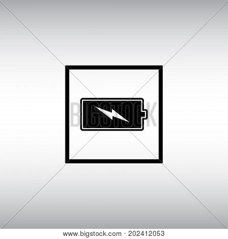 Battery flat vector sign. Black battery isolated vector icon. Energy level square button.