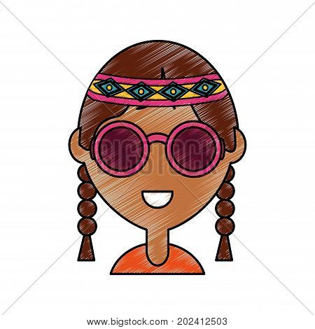 colorful  hippie woman  over white  background vector illustration