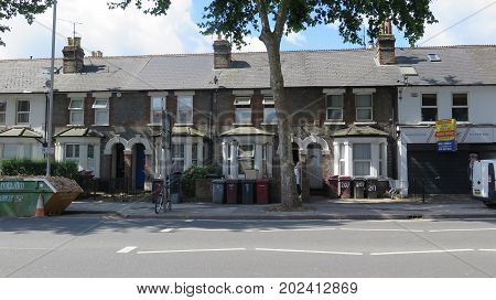 Reading England - August 4 2017: Multitude of Wheely Bins outside houses in Reading Berkshire England