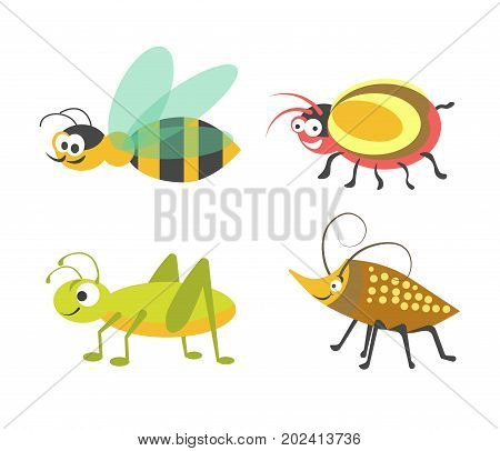 Friendly striped wasp, ridiculous beetle with bulging eyes, vigorous green grasshopper and bug with carapace and long antennas isolated cartoon flat vector illustrations on white background.