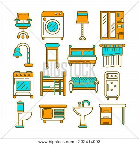 Comfortable seats, modern washing machine, bright lamps, wooden shelf, spacious beds, kitchen appliances, small curtain, bathroom furniture, office desk and compact commode vector illustrations set.