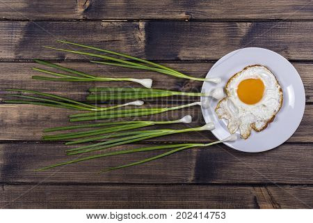 Egg chives and white plate look like sperm competition Spermatozoons floating to ovule close up in wooden background