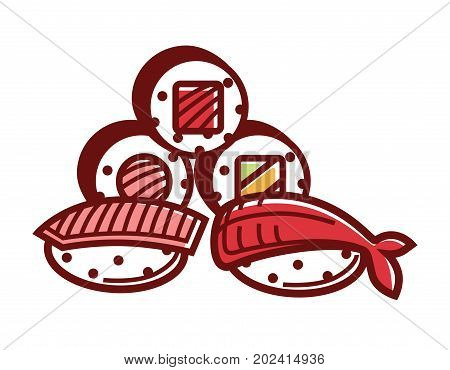 Delicious fresh sushi and maki rolls with red salmon and king shrimp isolated cartoon flat vector illustration on white background. Traditional tasty Japanese food made of natural organic products.