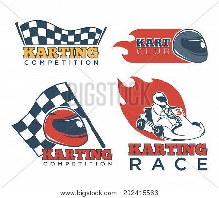 Karting race club and competition emblems set. Checkered flag, red flame and racer in helmet on kart isolated vector illustrations on white background. Vehicle sport for people who like extreme.