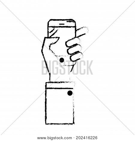 figure technology smartphone in the hand to digital communication vector illustration