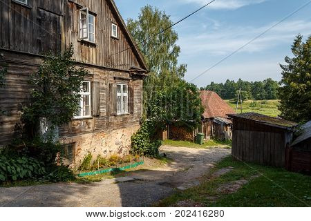 Typical Houses In Latvian City Kuldiga. Street Architecture Panorama. Kuldiga Is A Small Town In Wes