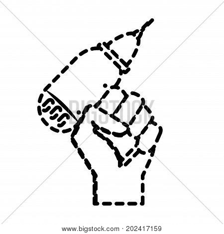 dotted shape drill equipment service industry repair in the hand vector illustration