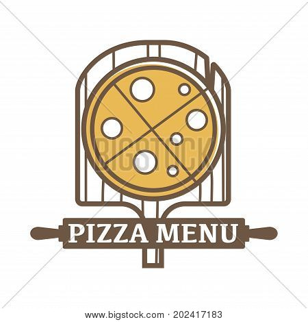 Pizza menu emblem with wooden board and sign on rolling pin isolated cartoon flat vector illustration on white background. Tasty italian cuisine promotional logotype. Delicious freshly baked dish.