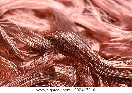 Copper wire closeup, business of raw material