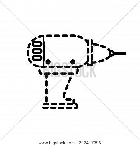 dotted shape drill equipment service industry repair vector illustration