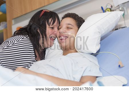 A Sick patient lying on bed in hospital for medical background