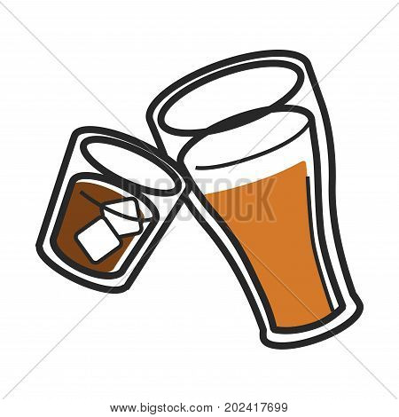 Scotch with ice in glass and freshly brewed ale in big tumbler isolated cartoon flat vector illustration on white background. Traditional national Scotland alcohol drinks in transparent dishware.