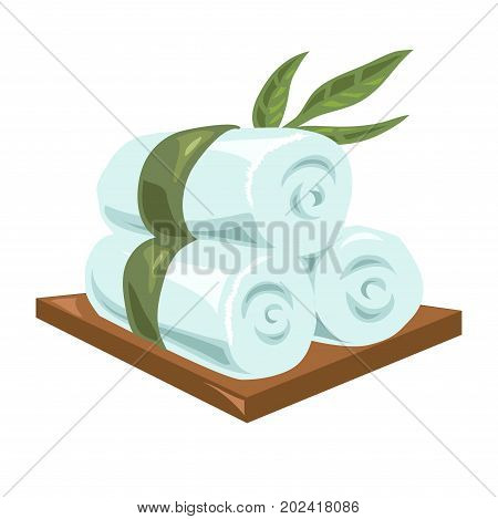 Hot rolled fresh soft towels tied with long green leaves lie on wooden board isolated cartoon vector illustration on white background. Equipment for hygiene maintenance during procedures in spa salon.