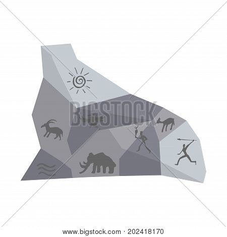 Piece of stone wall with ancient drawings of huge mammoth, people with spears, horned deers, big bird, water waves and sun circle isolated cartoon flat vector illustration on white background.