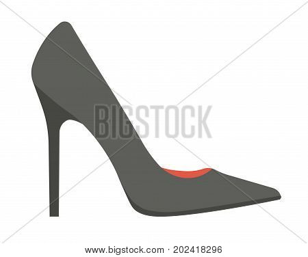 Elegant classic black stiletto shoe isolated vector illustration on white background. Female footwear for office style outfits and bright element in casual look. Leather footgear of high quality.