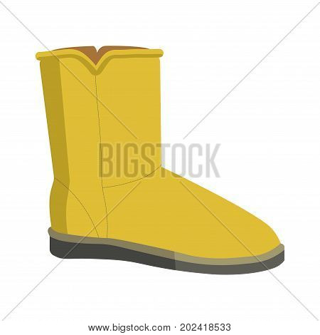 Warm winter bright yellow soft ugg boot on flat thin sole isolated cartoon vector illustration on white background. Comfortable female footwear with fur wadding for casual outfits in cold weather.