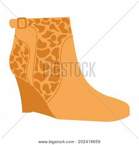 Stylish autumn suede half-boot with giraffe pattern on small platform isolated cartoon flat vector illustration on white background. Fashionable footwear for elegant looks with animalistic motives.