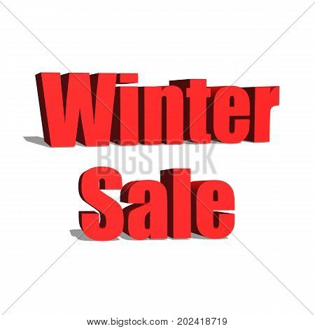 Winter Sale red word on white background illustration 3D rendering