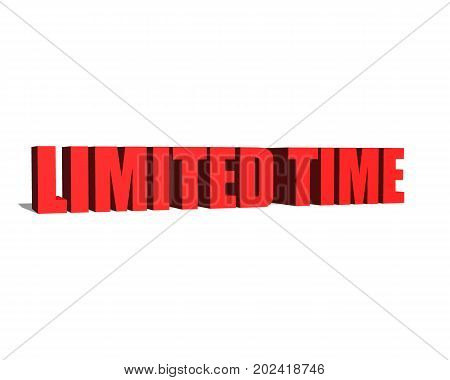 Limited time red word on white background illustration 3D rendering