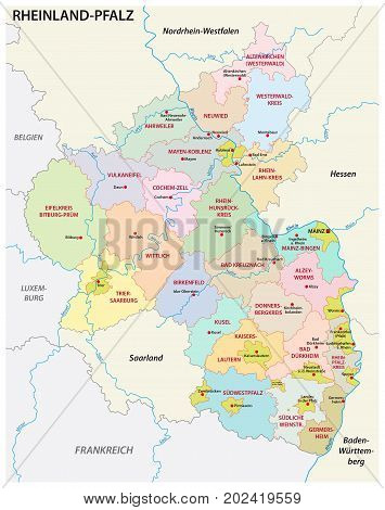 administrative and political map of the state of Rhineland-Palatinate in german language