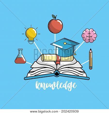 education school knowledge and utensils design vector illustration