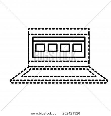 dotted shape laptop with business virtual document information vector illustration