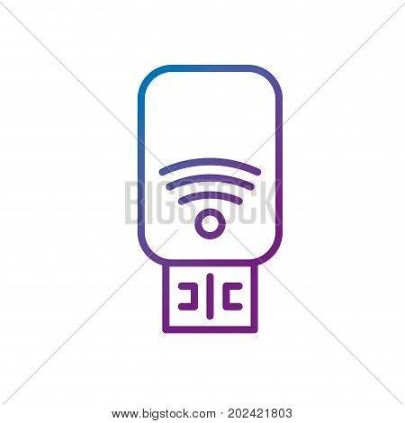 line usb memory technology to save data information vector illustration