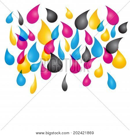 Vector abstract colored background with cmyk drops of printer