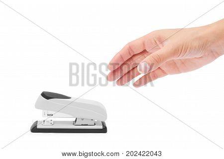 Stapler In Hand Isolated On White Background