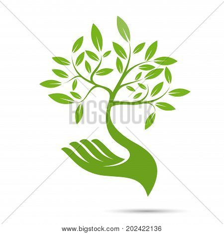 Vector sign friendly environment hand and tree