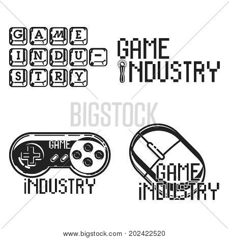 Vintage game industry emblems. Vector illustration, EPS 10