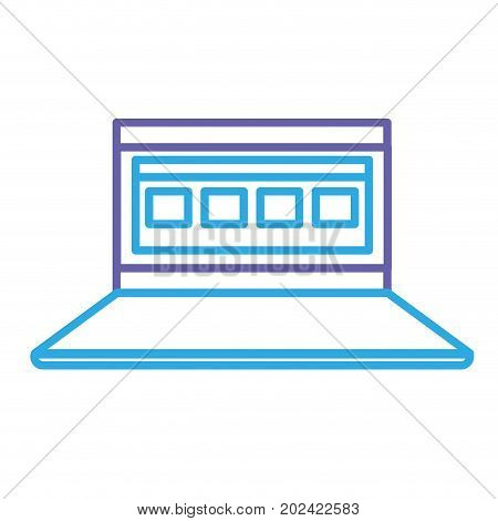 silhouette laptop with business virtual document information vector illustration