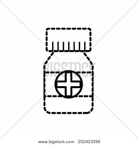 dotted shape bottle pills to medical treatment prescription vector illustration