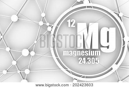 Magnesium chemical element. Sign with atomic number and atomic weight. Chemical element of periodic table. Molecule And Communication Background. Connected lines with dots. 3D rendering.