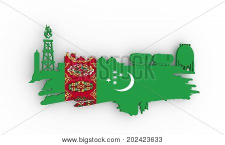 Energy and Power icons set and grunge brush stroke. Design concept of natural gas industry. 3D rendering. Flag of the Turkmenistan