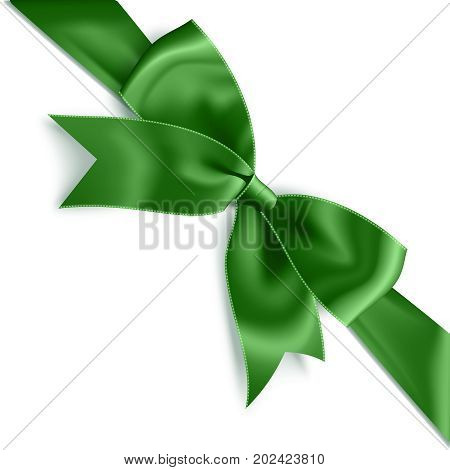 Realistic satin green bow knot on ribbon. Vector illustration icon isolated on white.