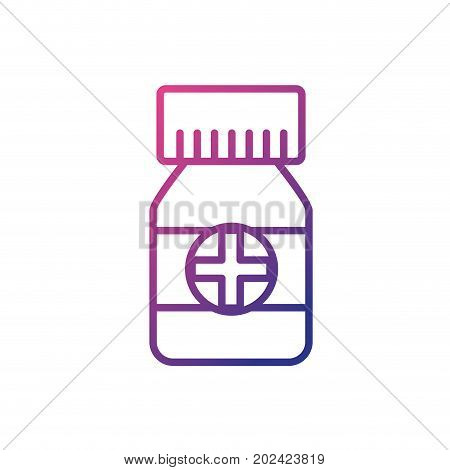 line bottle pills to medical treatment prescription vector illustration