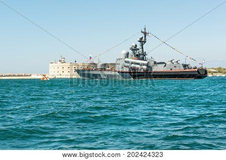 SEVASTOPOL, CRIMEA - MAY 9: Parade of the Russian warships celebrating Victory Day on May 9th, 2015. Russian Navy Tarantul class corvette