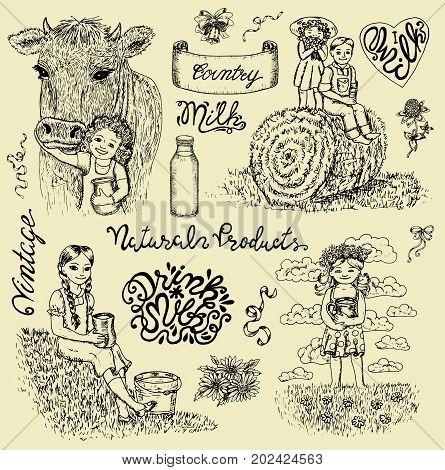 Vintage design set with kids drinking milk and lettering. Vintage vector engraving, hand drawn design illustrations for label, poster. Rural farm concept