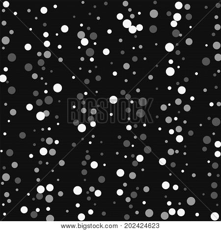 Falling White Dots. Scatter Vertical Lines With Falling White Dots On Black Background. Vector Illus