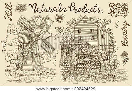 Vintage collection with old windmill, watermill and lettering. Vintage vector engraving, hand drawn design illustrations for label, poster. Rural farm concept