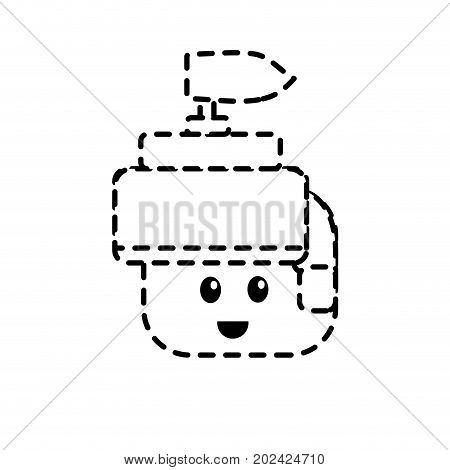 dotted shape warrior head character to video game technology play vector illustration