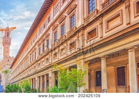 Beautiful Panorama Of Uffizi Gallery In The Palace Vecchio (palazzo Vecchio) In Piazza Della Signori