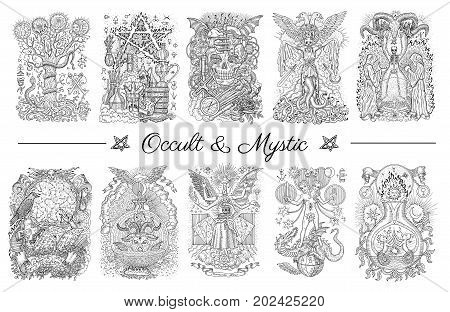 Set with graphic engraved illustrations. Occult and esoteric drawing, gothic, tattoo and wicca concept, Halloween backgrounds