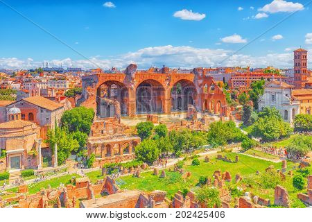 View Of The Roman Forum From The Hill Of Palatine - A General Overview Of The Entire Roman Forum Wit