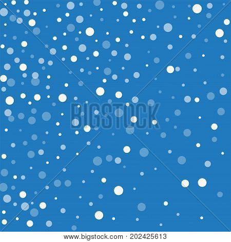Falling White Dots. Abstract Scatter With Falling White Dots On Blue Background. Vector Illustration